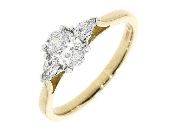 18ct Three Stone Oval & Pear Cut Diamond Ring