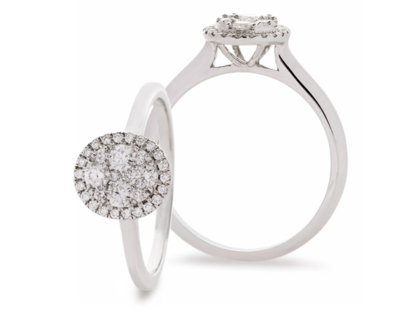 18ct White Gold Oval Illusion Cluster Ring
