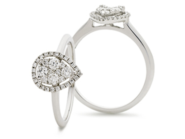 18ct White Gold Pear Illusion Cluster Ring