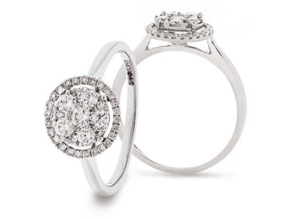 18ct White Gold Round Illusion Cluster Ring