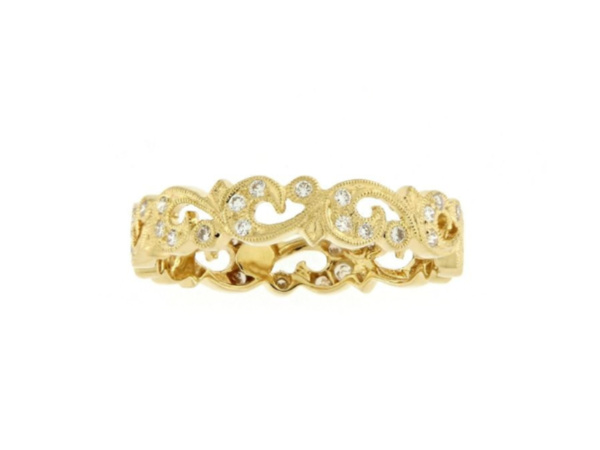 18ct yellow Gold Guipure Lace Band