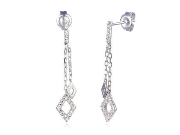 9ct White Gold Diamond Shape Drop Earrings