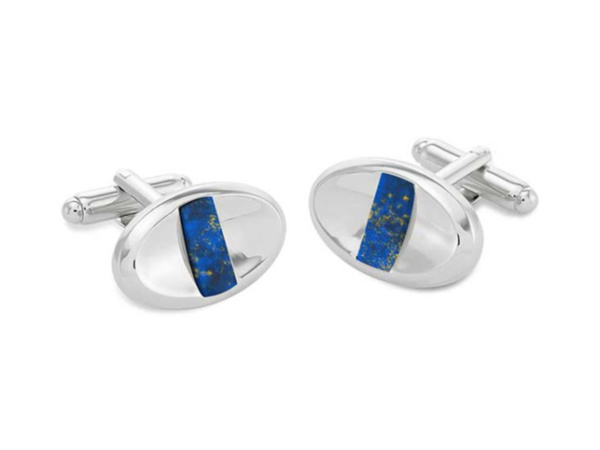 Arden Rhodium Plated Oval Cufflinks