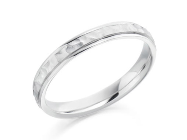 Cabala Hammered Centre Wedding Ring