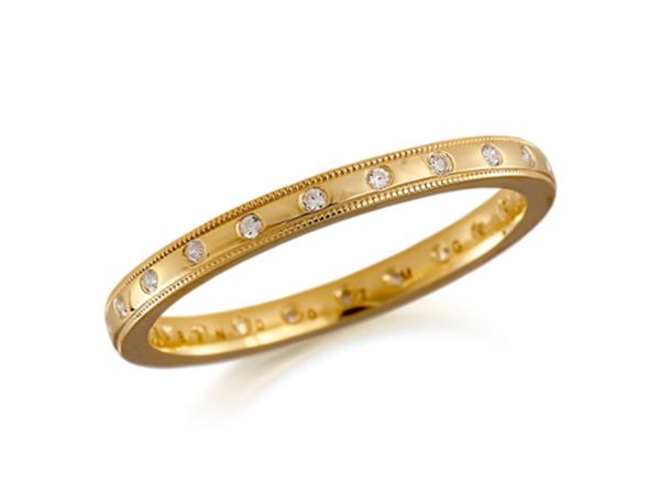 Diamond Bead Edge Wedding Ring