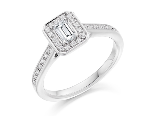 Emerald Cut Cluster Ring with Diamond Shoulders