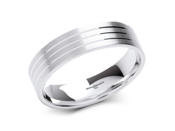 Gents Felix V-Cut Line Wedding Ring