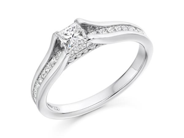 Princess Cut Diamond Ring with Diamond Shoulders