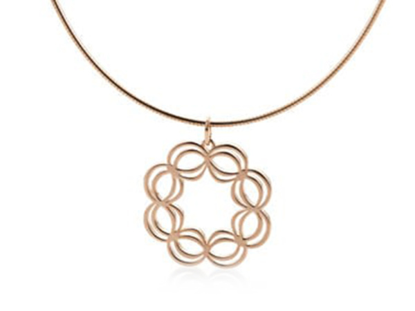 Rose Gold Plated Linked Open Flower Pendant