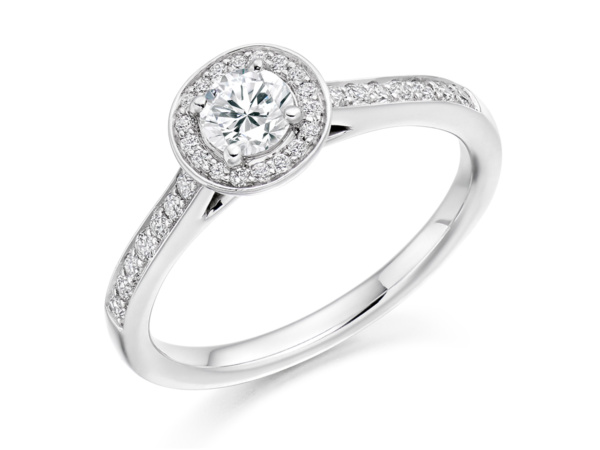 Round Cluster Ring with Diamond Shoulders