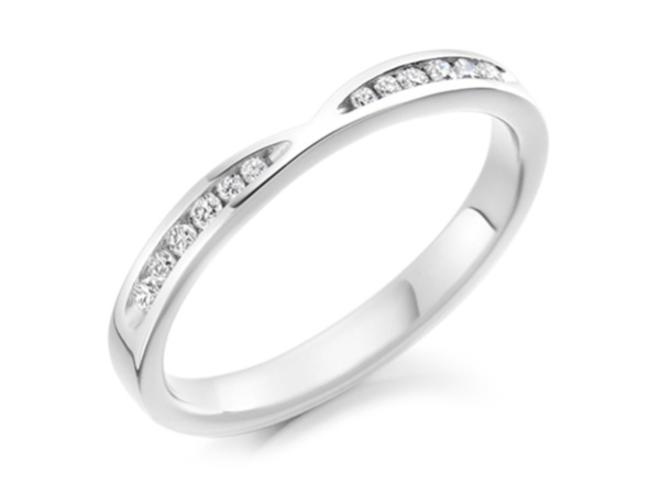 Shaped Wedding Ring with Flat Side