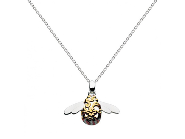 Silver Gold Plated Bumble Bee Necklace