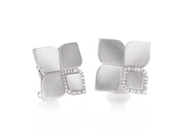 Silver Modern Four Petal Earrings