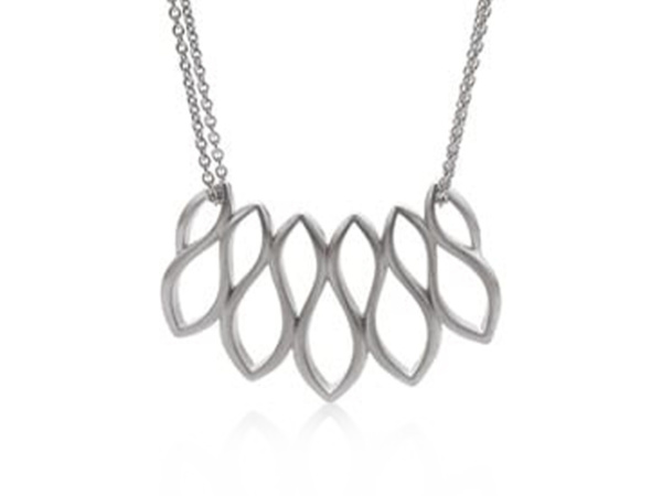 Silver Open Leaf Double Chain Pendant