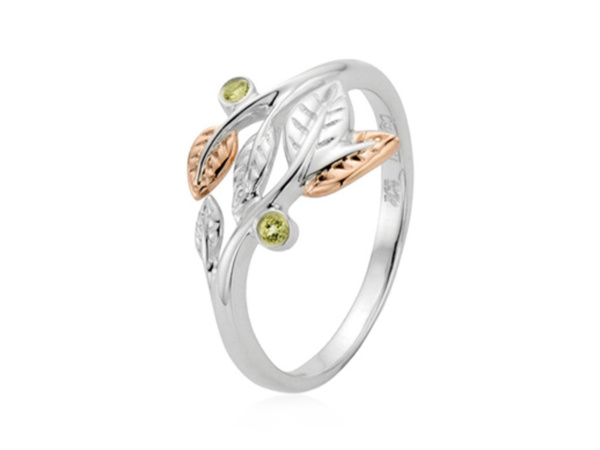 Silver Peridot Awelon Ring