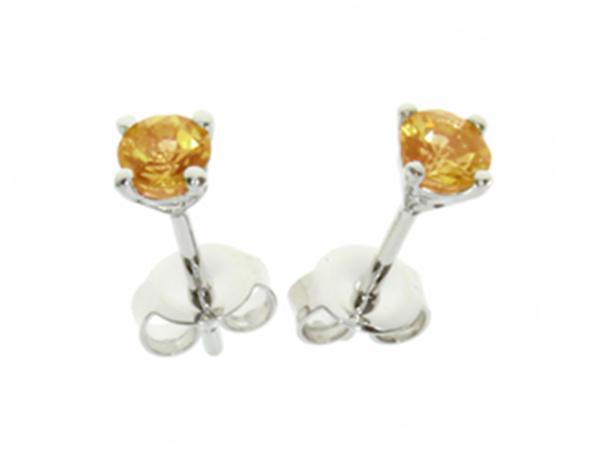 Silver Round Citrine Stud Earrings