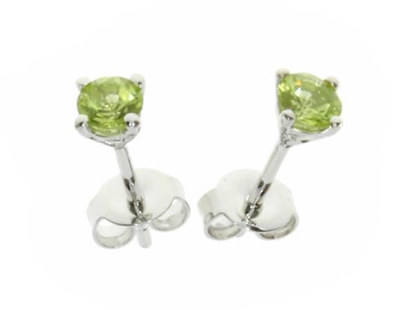 Silver Round Peridot Stud Earrings