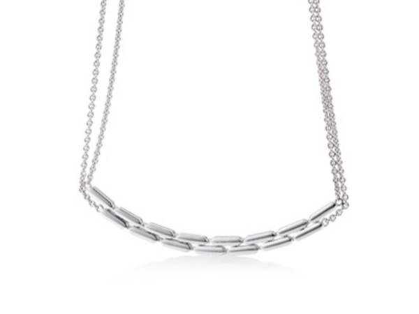 Silver Two Row Rectangle Necklace