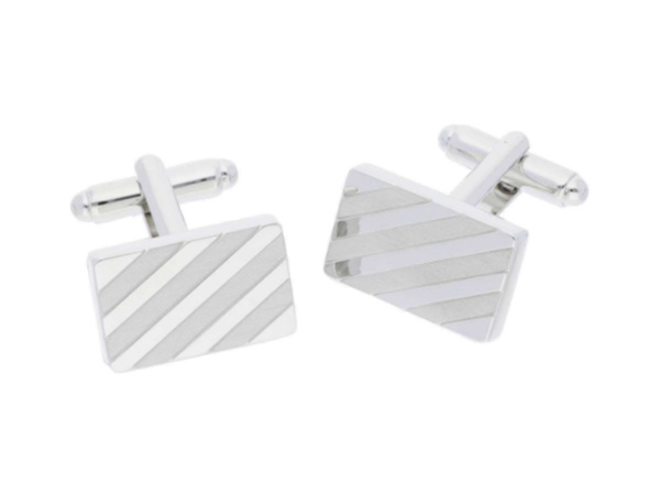 Tech Rhodium Plated Rectangle Cufflinks