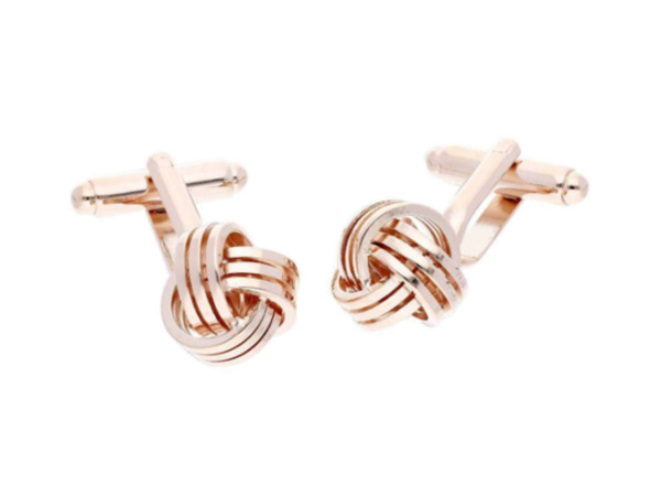 Trip Rose-Plated Knott Cufflinks