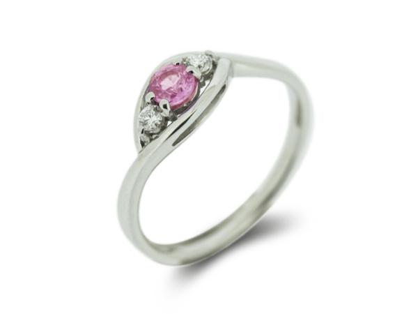 White Gold Pink Sapphire & Diamond Ring