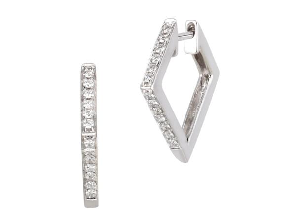 White Gold Square Shape Hoop Earrings