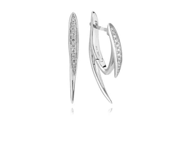White Gold Thorn Style Hoop Earrings